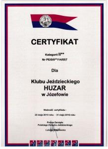 certyfikat PZJ Osrodek Szkoleniowy KJ Huzar